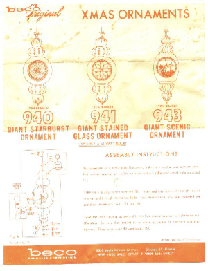 Beco Products Giant Starburst Ornament #940, Giant Stained Glass Ornament #941, Giant Scenic Ornament #943 Instruction Manual preview