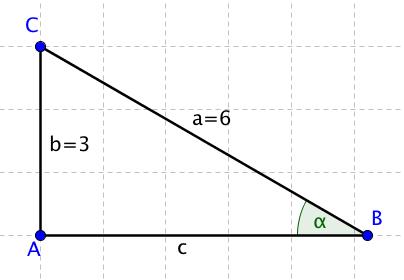 Trojúhelník ABC s vyznačeným úhlem alfa