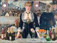 Manet's last major work was the Bar at the Folies Bergere. Normal service was resumed: the public were puzzled by the painting's use of perspective and reviews were mainly negative.