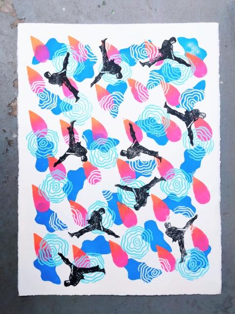 LIKE WATER, linocut print on paper, 2020.
