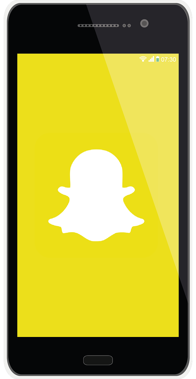 graphic of a smart phone with a snapchat themed wallpaper