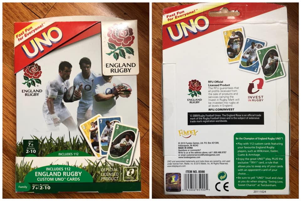 England Rugby Uno Card Game