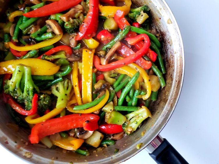 Vegetables in sweet ginger stir-fry sauce