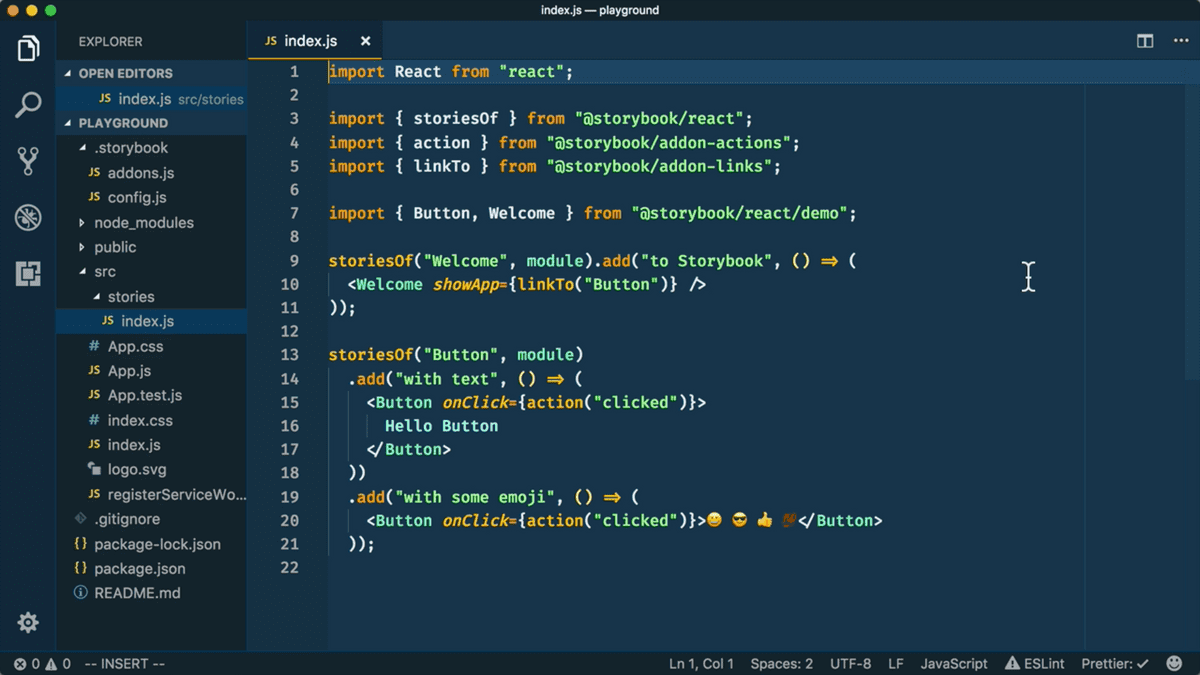 Screenshot of VS Code and index.js
