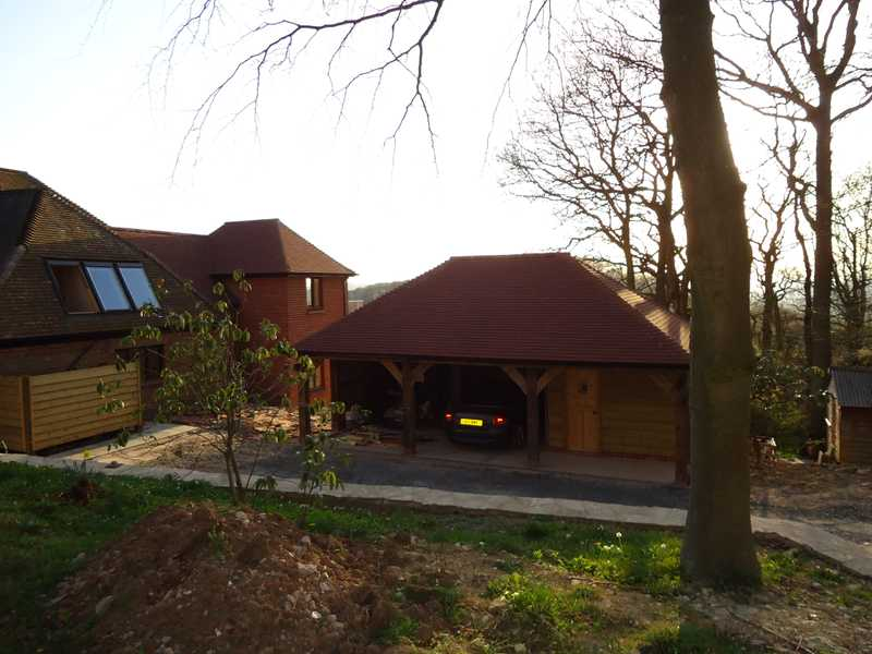 A client's car parked in the newly erected timber framed double garage