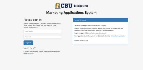 CBU Marketing Applications sign-in