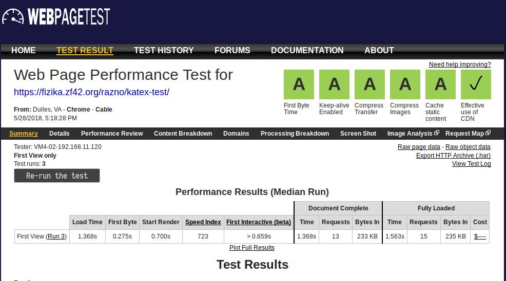 Webpagetest KaTeX