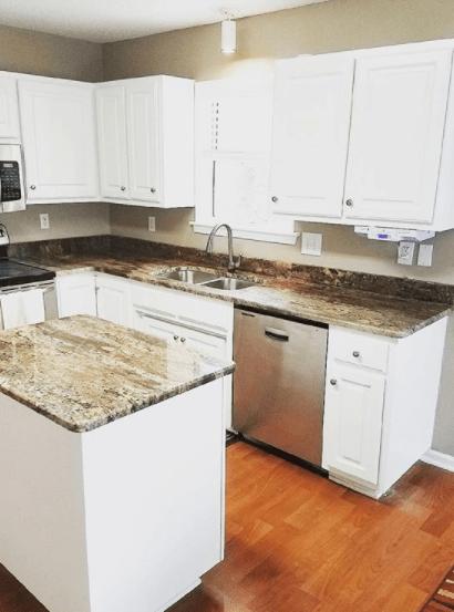Granite kitchen countertop and island fabricated using bordeaux granite
