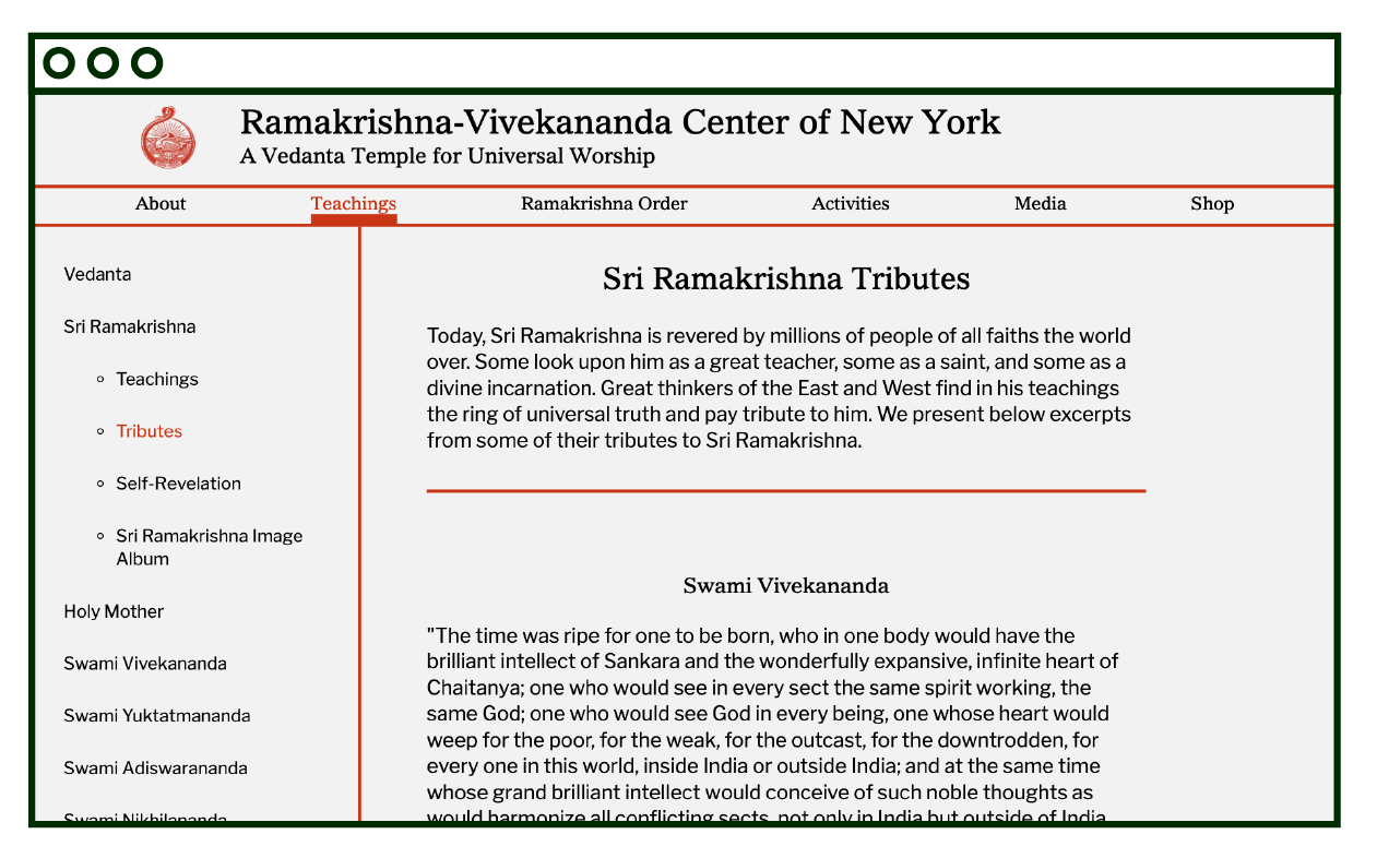 desktop layout of internal text page, Sri Ramakrishna Tributes