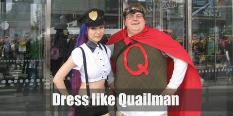 Quailman wears Doug's usual cargo shorts and green vest getup with the addition of a big red 'Q' written on his top and his white briefs worn above his bottoms.