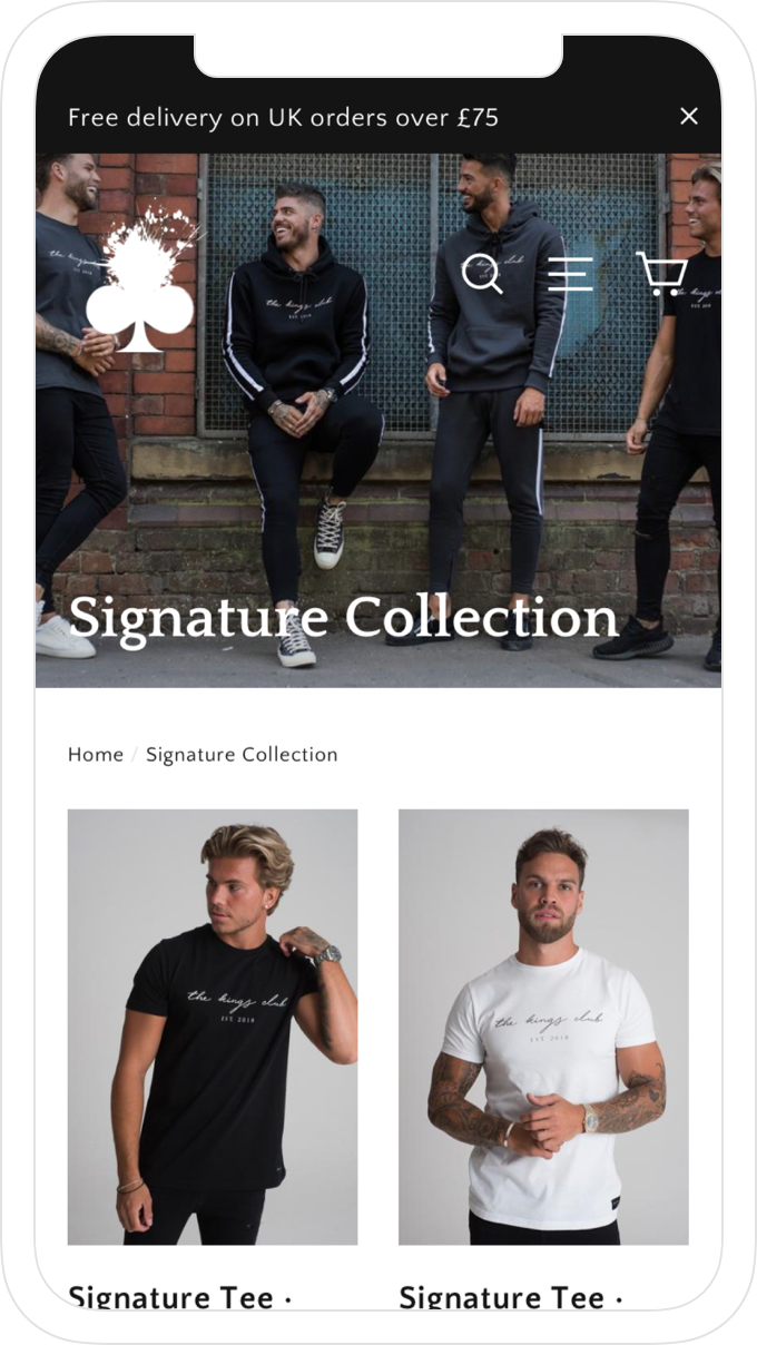 Mobile collection page, website and online store design for men's clothing brand, The Kings Club