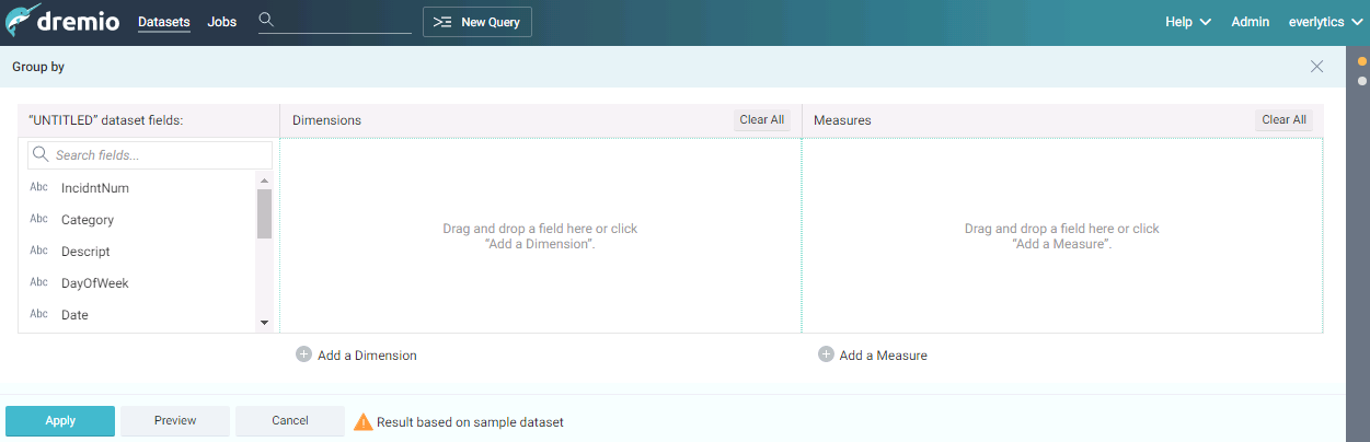 Group by query builder interface in dremio