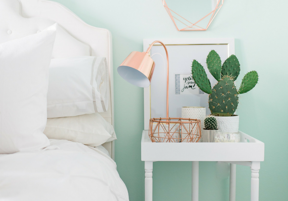image of white nightstand with cactus plant