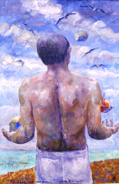painting of figure juggling colourful balls seen from behind with seagulls wheeling above