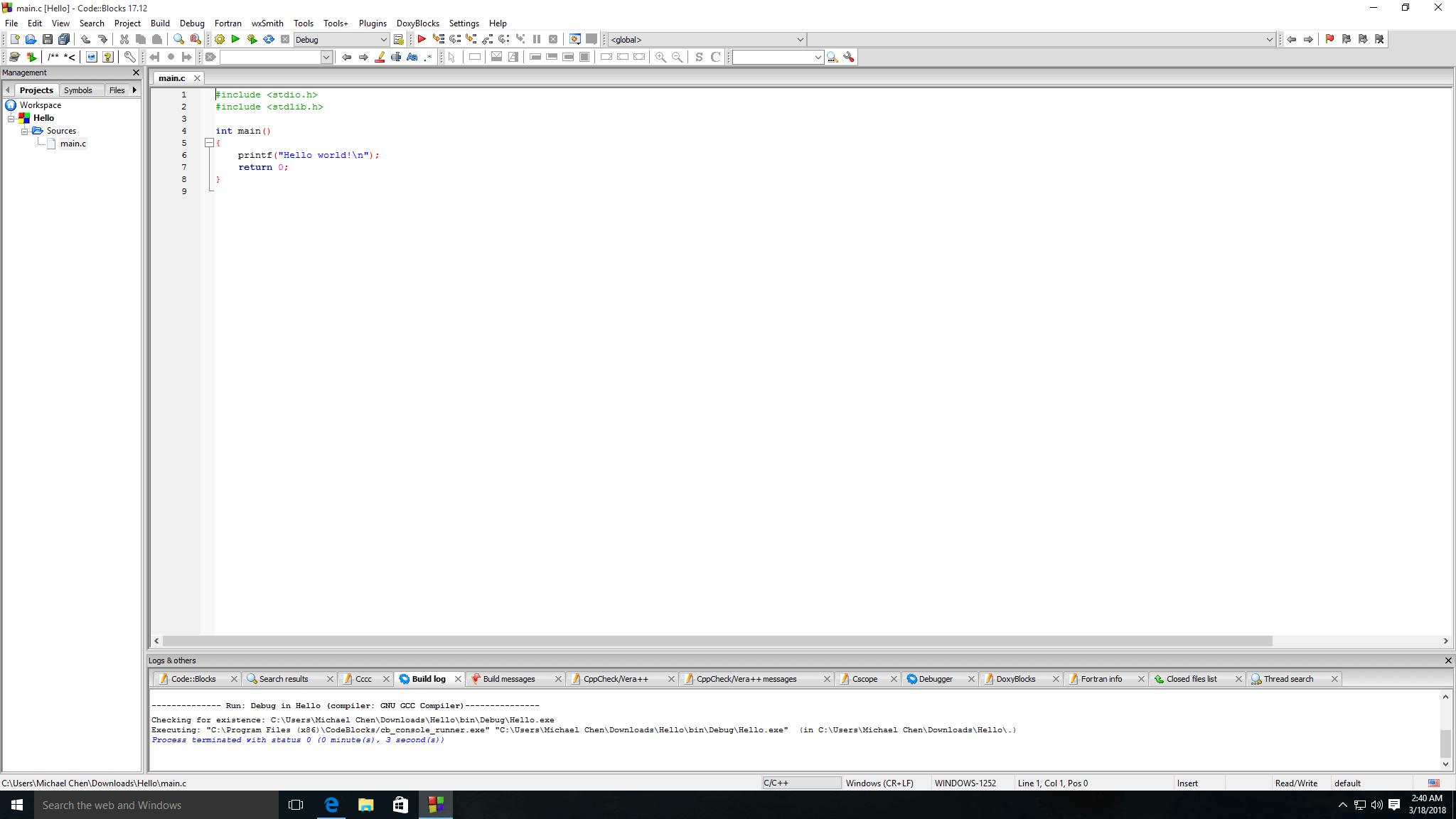 Code::Blocks 編輯器主畫面