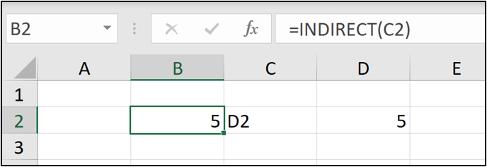 An Excel worksheet with cell B2 selected (containing the value 5) and the =INDIRECT(C2) formula entered into the formula bar.