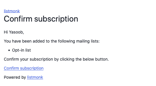 Default Opt in email
