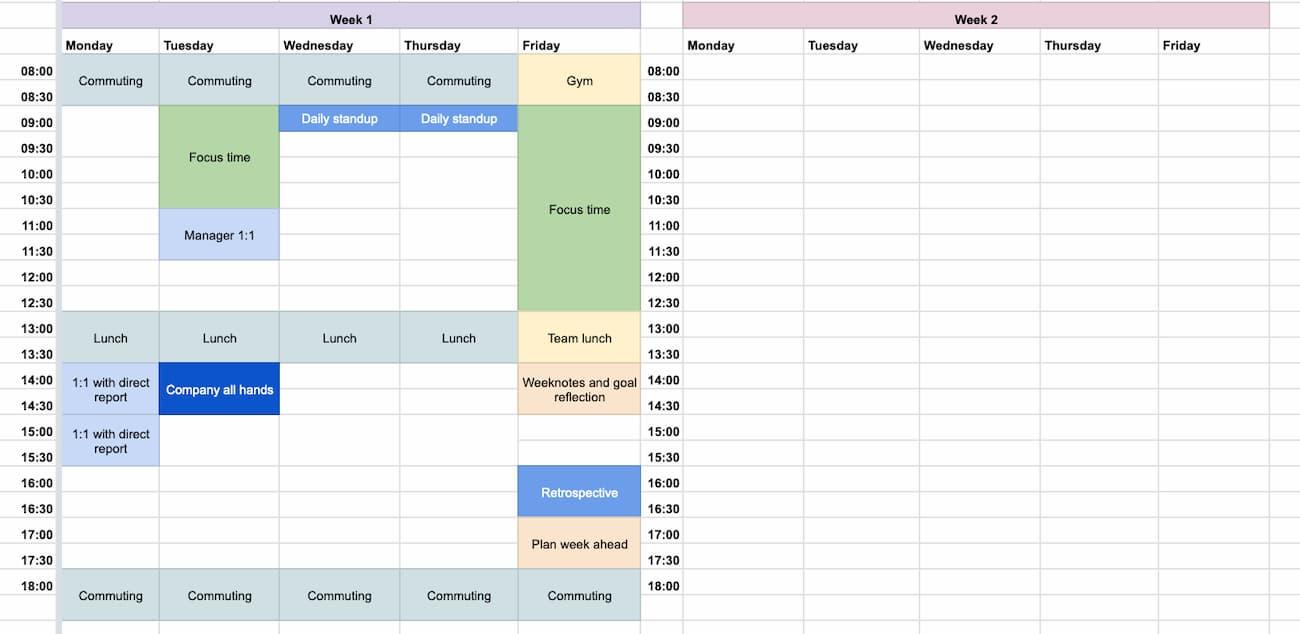 A screengrab of the calendar step