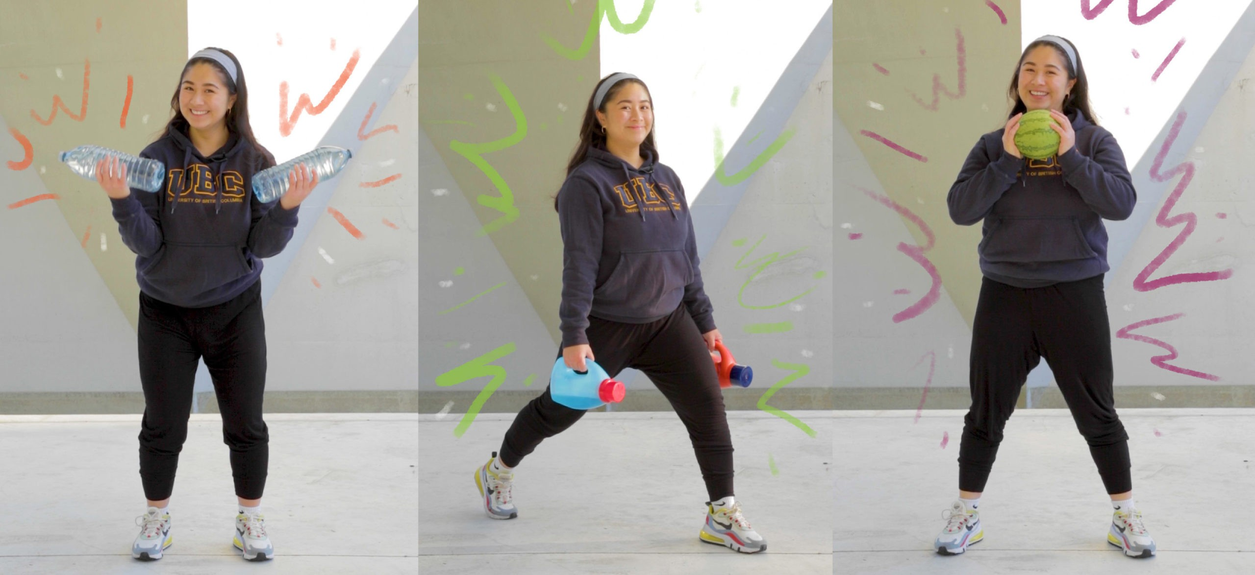 A person shows how to exercise using objects found at home, such as water bottles and laundry detergent bottles, as weights