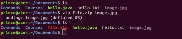 zip command for compressing with example