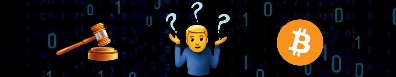Ist Bitcoin seriös mit Gerichtshammer links, einem emoji in der mitte und dem bitcoin logo rechts