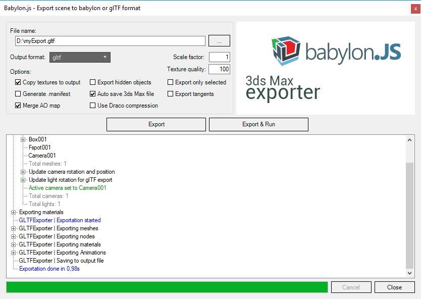 glTF export window