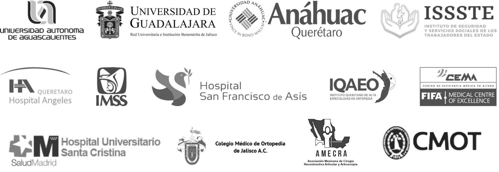 Logos de instituciones y hospitales