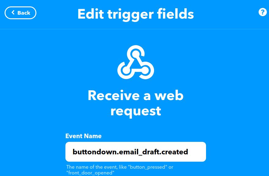 ifttt webhook trigger field