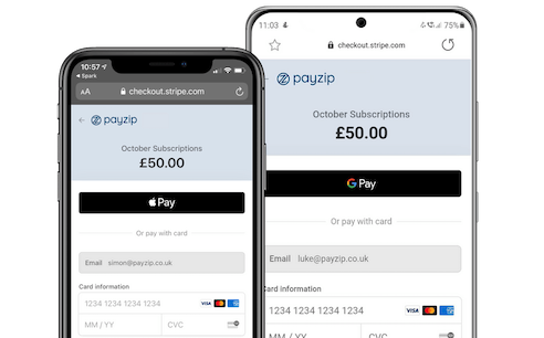 An image showing Apple Pay and Google Pay payment forms on two separate mobile phones