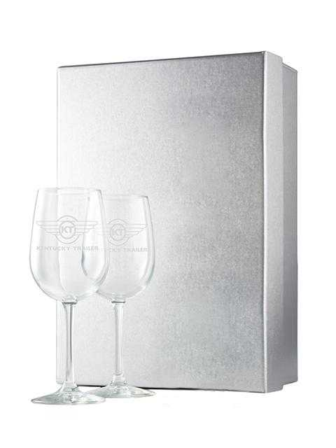 Silver Gift Box with 2 Etched Glasses