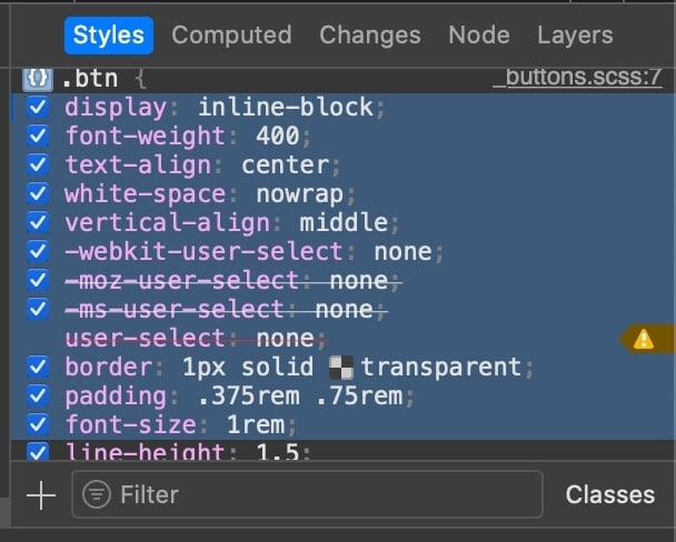 Safari Devtools (copying styles from the styles panel)