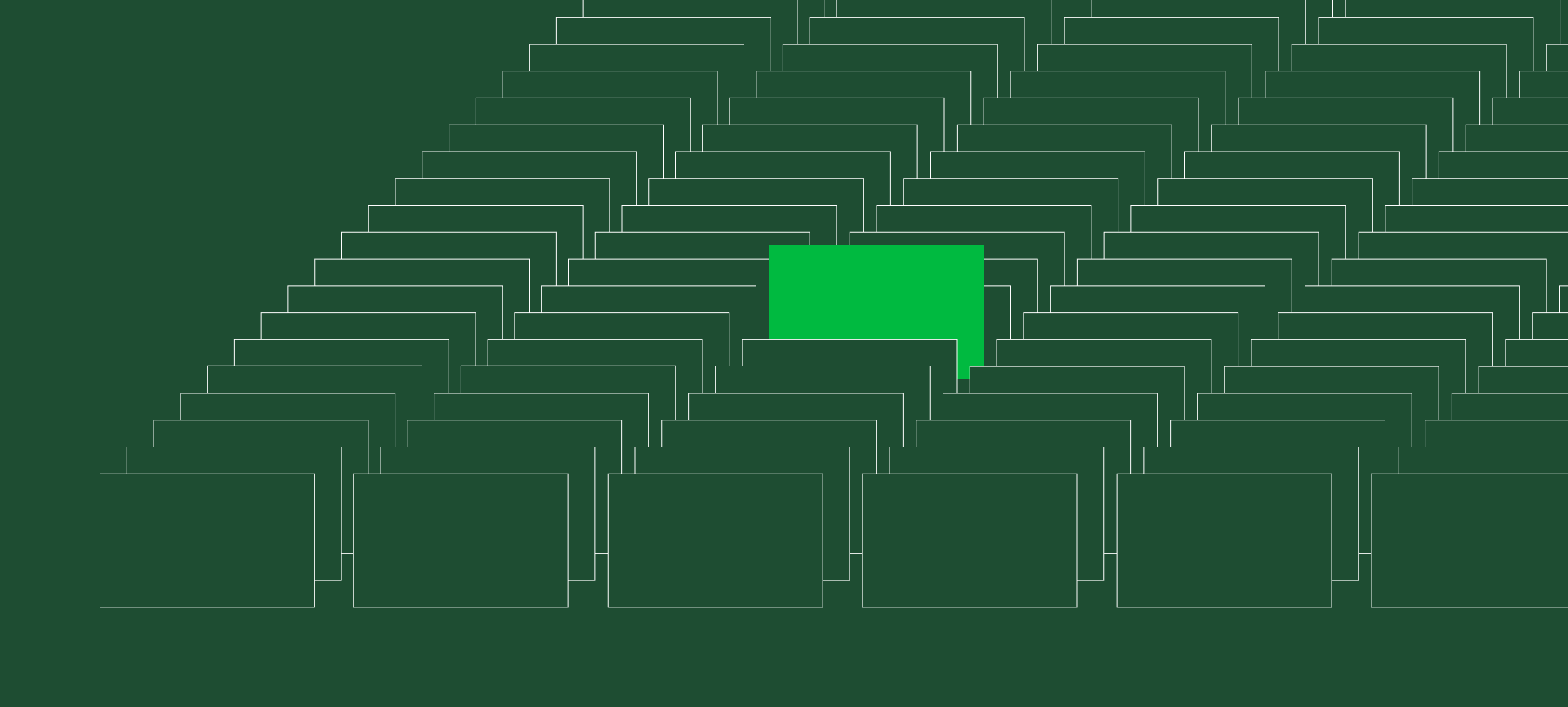 Illustration of rectangles on forest green background, with one bright green