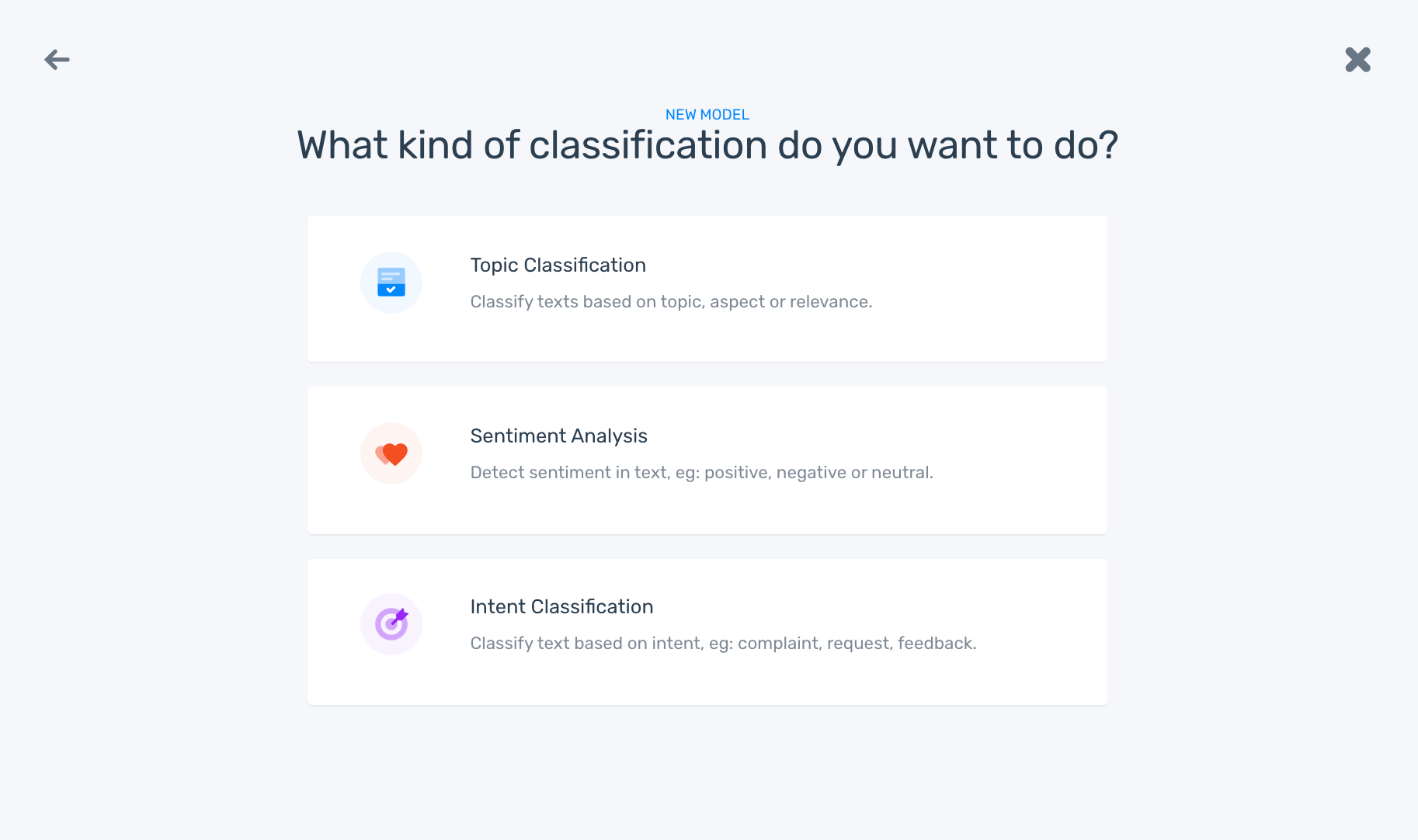MonkeyLearn's model builder: choose a from sentiment analysis, topic classification, and intent classification