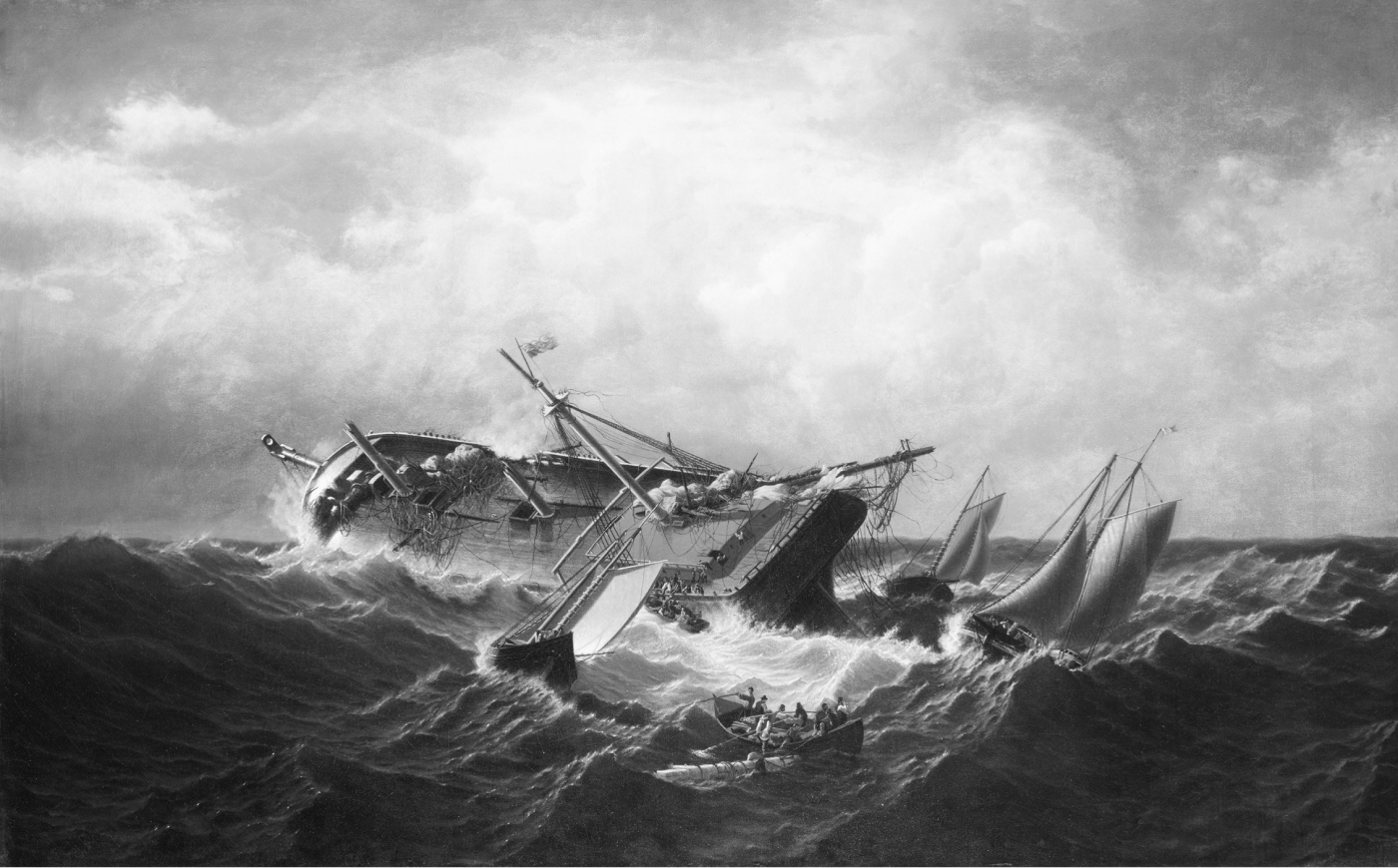 A painting by William Bradford of a shipwreck