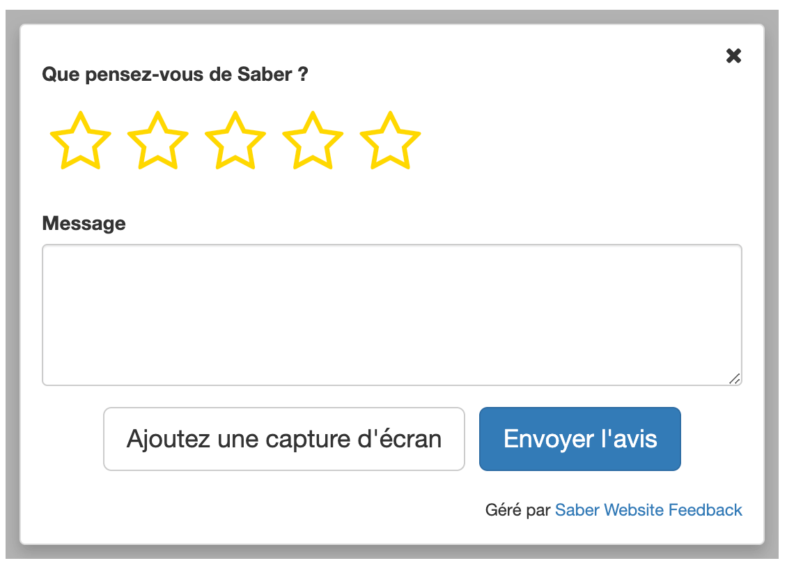 Saber Feedback form in French