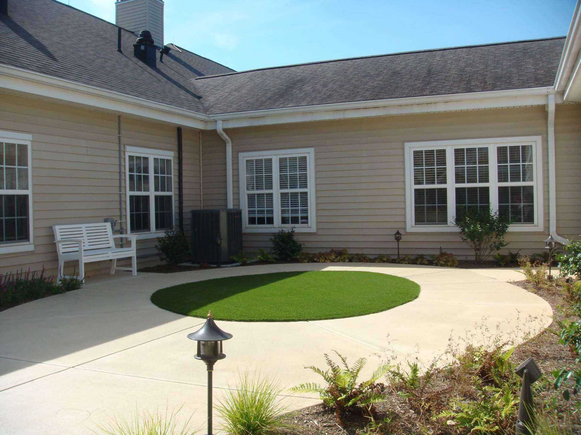 open green area in the midst of the landscaping area