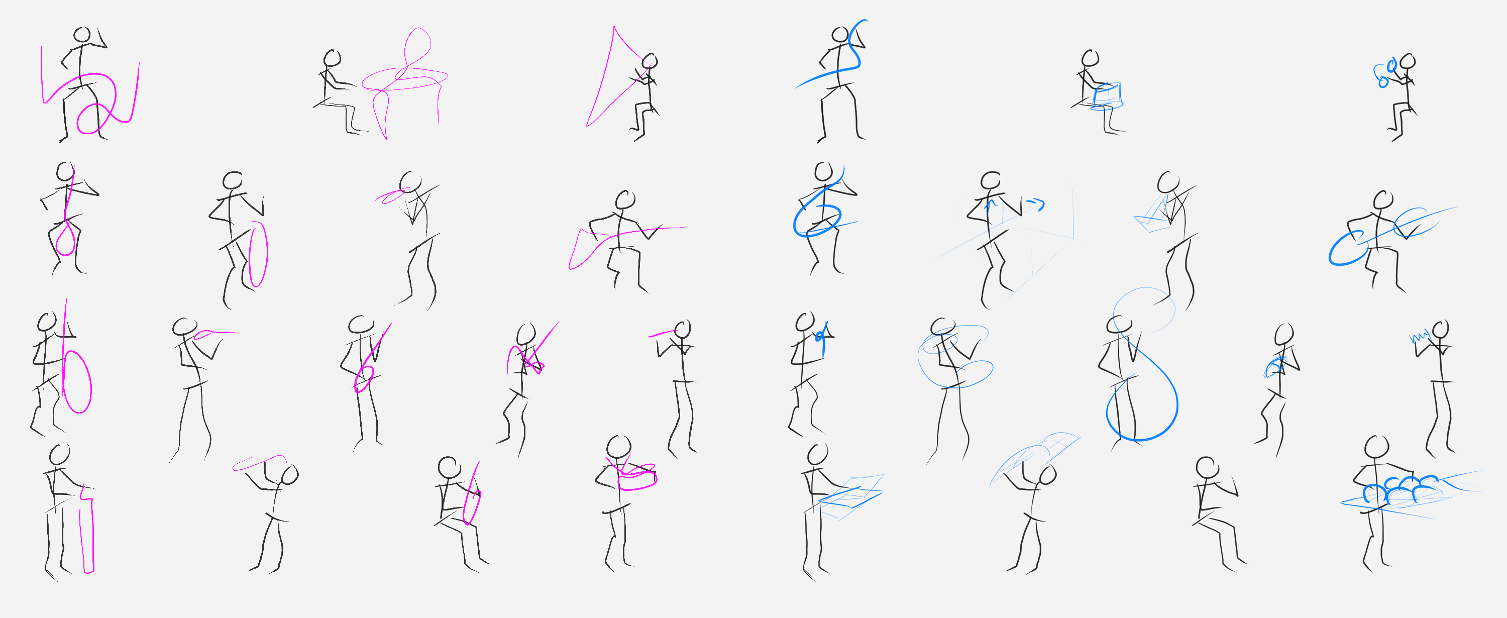 Figures of various musicians with abstracted instruments