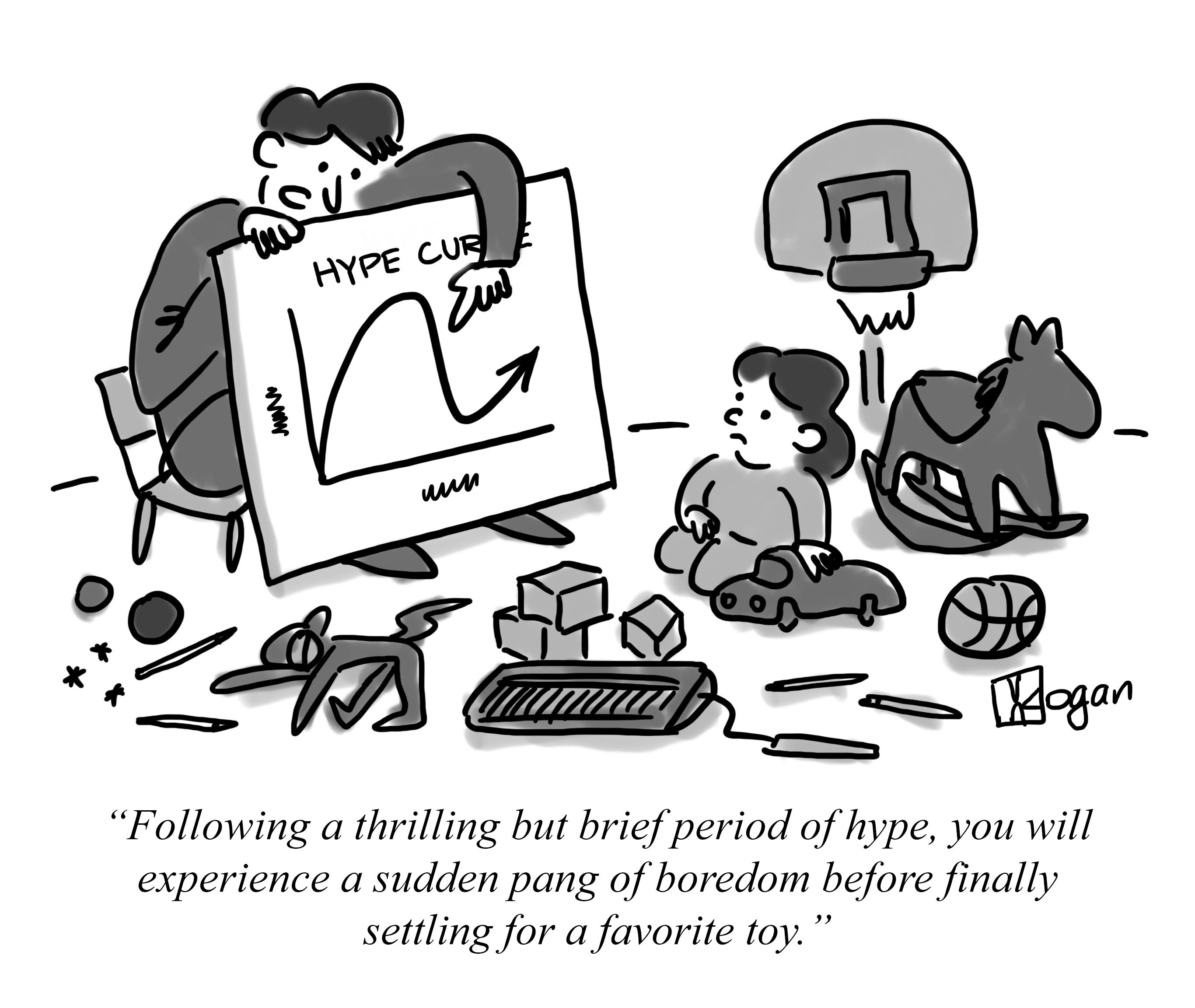 Cartoon about the hype of Artificial Intelligence