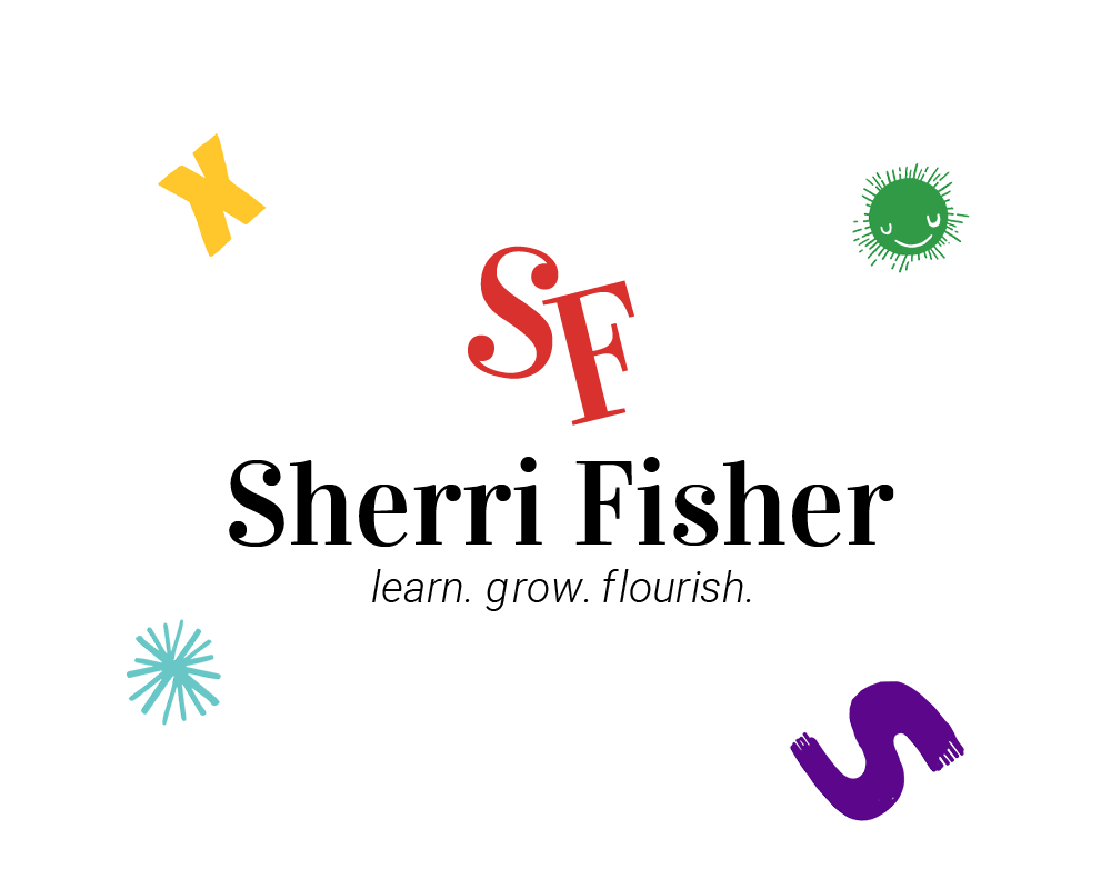 Sherri Fisher's logo, with her initials in a red serif
