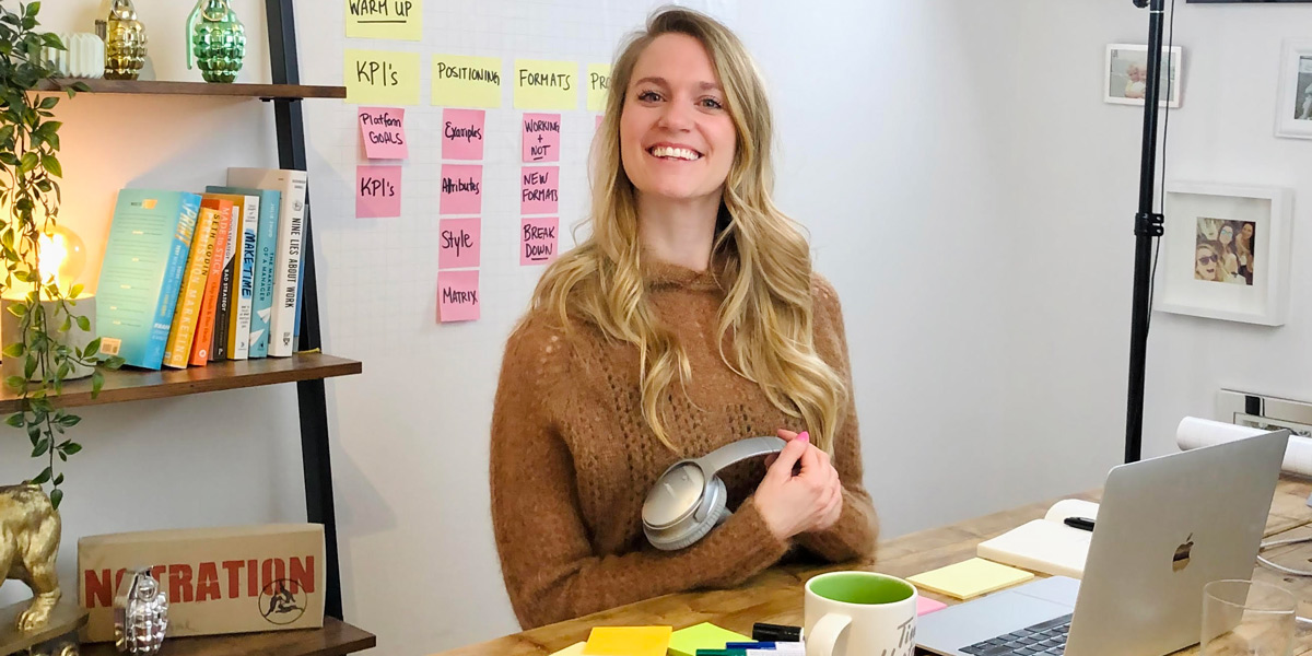 Brittni Bowering at her desk, ready to conduct a remote design thinking workshop