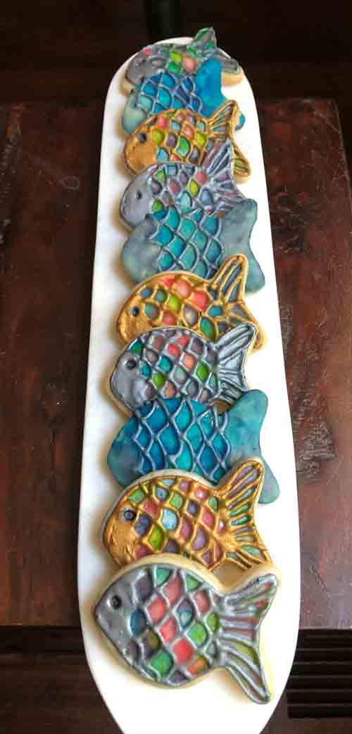 vegan lemon rainbow fish cookies