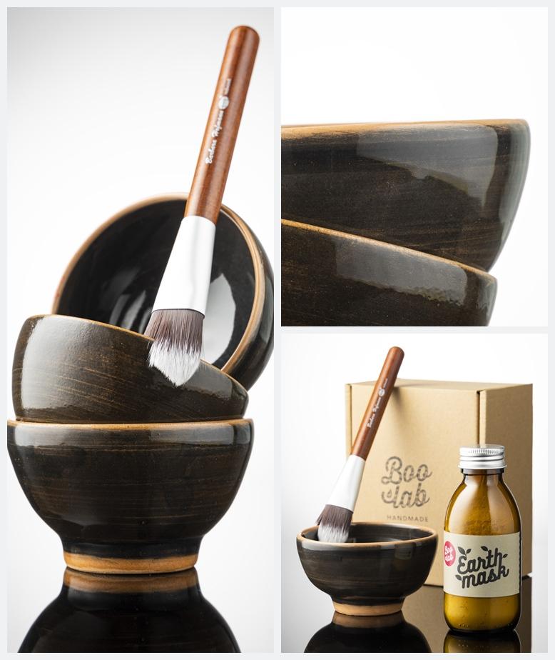 Boolab Masking Set za lice, keramička posudica, kvalitetni drveni kist te kombinacija s Earth maskom u originalnoj ambalaži.