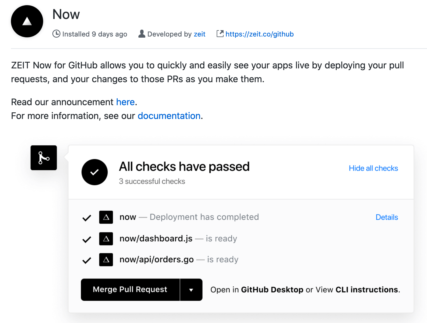 Now GitHub app