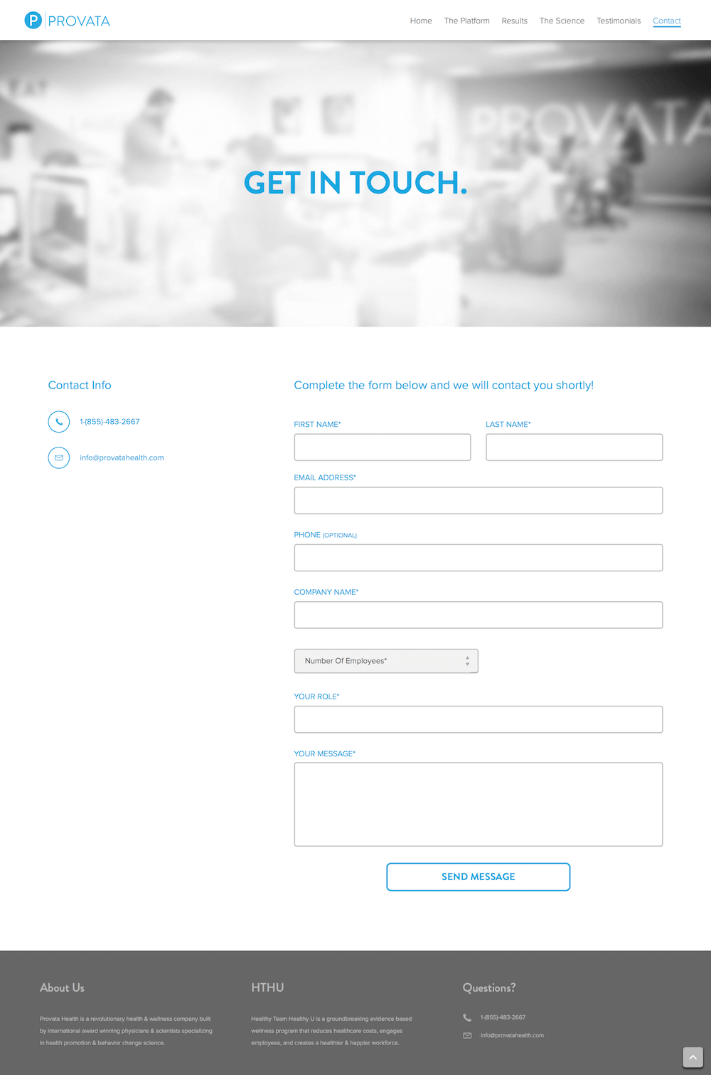 Screenshot of the Provata Health marketing web site Contact page