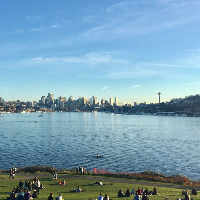 A photo of the Lake Union tour showing the view of South Lake Union from Gasworks Park.