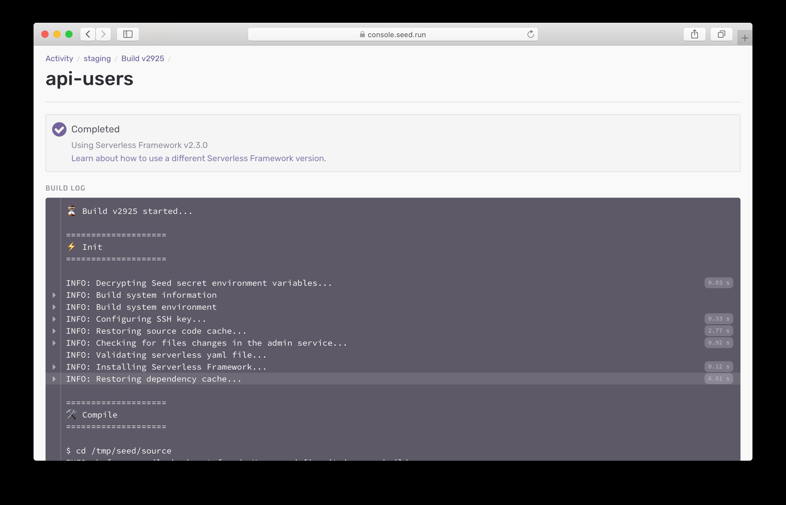 Seed cache optimization build log