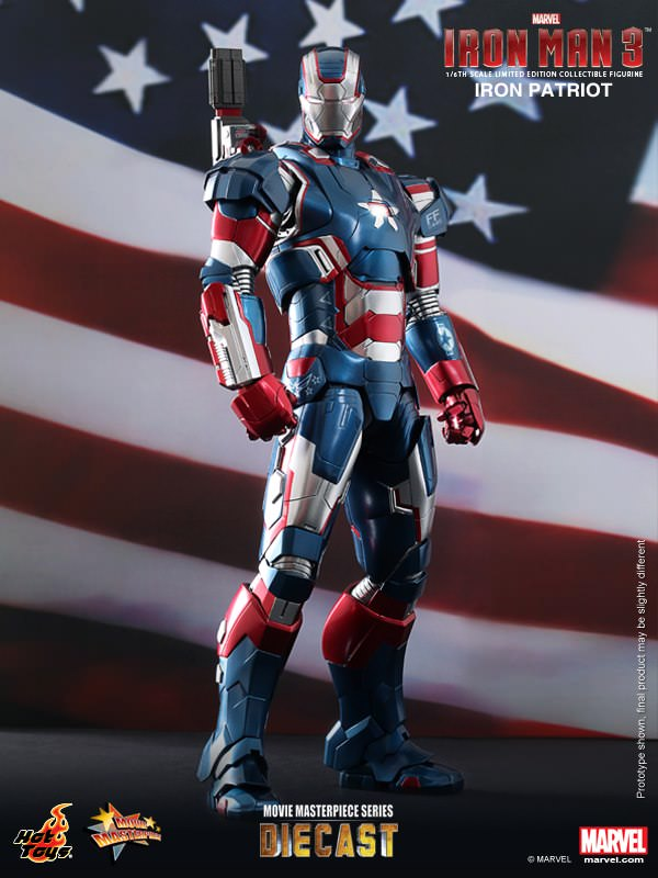 Hot Toys Iron Man 3 MMS195D01 Iron Patriot 1/6th Scale Limited Edition Collectible Figure