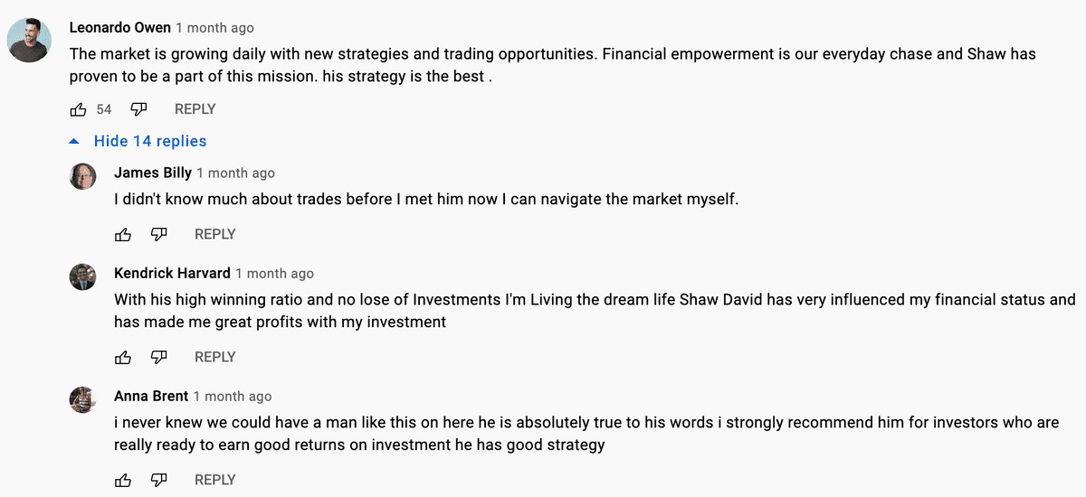 A trading broker scam on YouTube