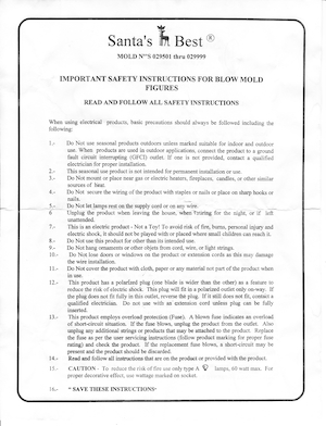 Santa's Best Staking and Assembly Instructions Instruction Manual.pdf preview