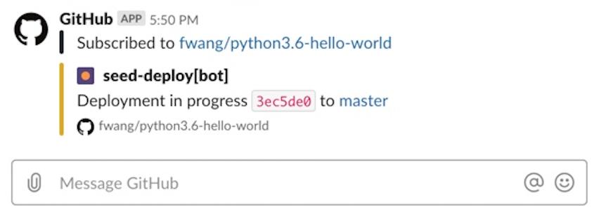 Seed build info in GitHub Slack app
